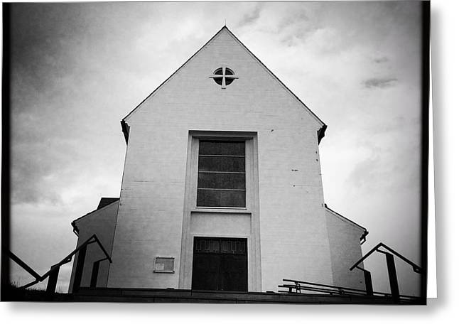 Skalholt Cathedral Iceland Europe Black And White Greeting Card