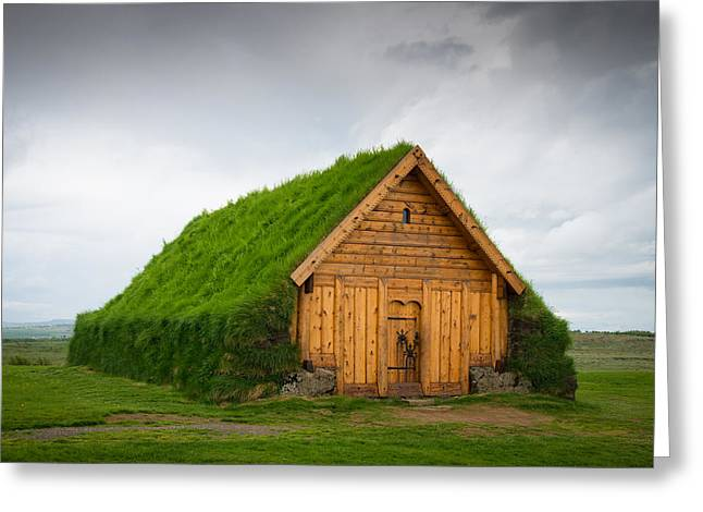 Skalholt Iceland Grass Roof Greeting Card
