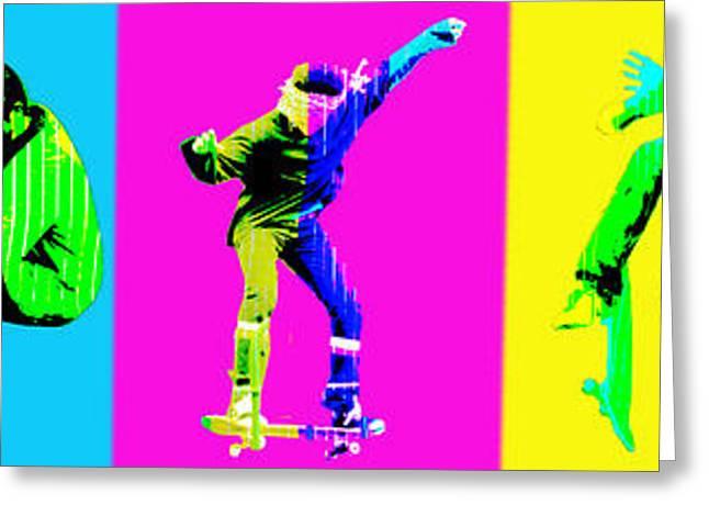 Skateboarders Greeting Card by Michelle Orai