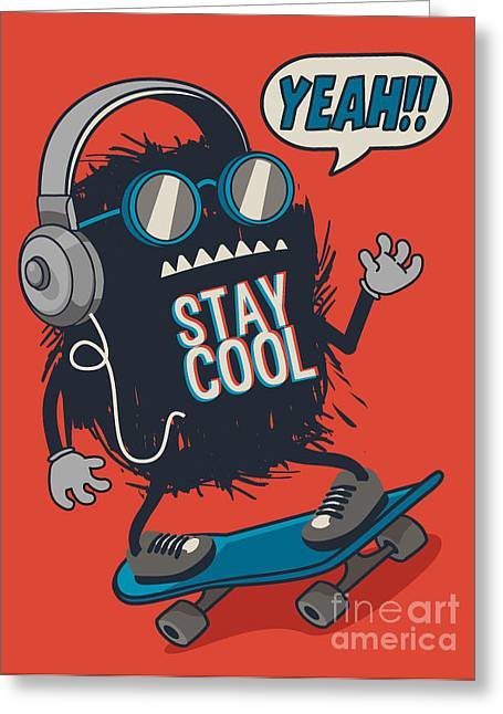 Skater Monster Greeting Card