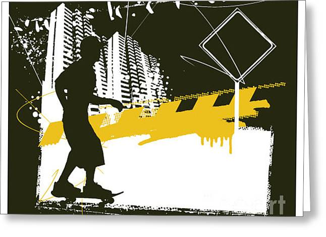 Skater With Grunge Urban Scene Greeting Card