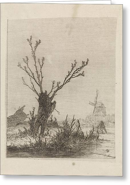 Skater With Sled Near A Willow, Print Maker Johannes Greeting Card by Johannes Franciscus Hoppenbrouwers