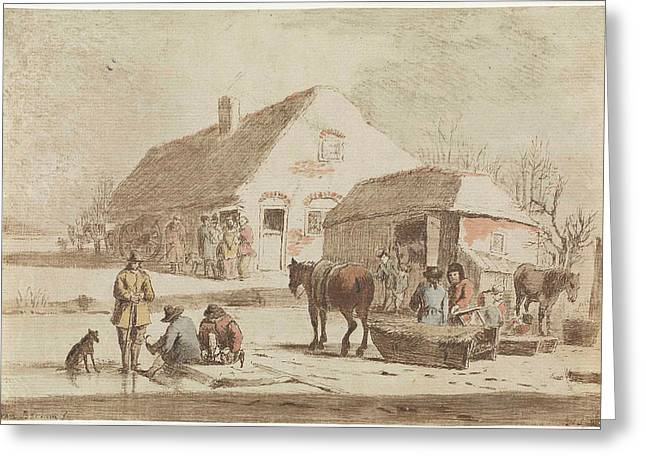 Skaters And A Sledge At A Farm, Hendrik Spilman Greeting Card by Hendrik Spilman