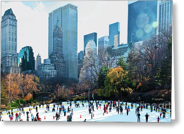 Skaters Central Park Wollman Rink Greeting Card by Regina Geoghan