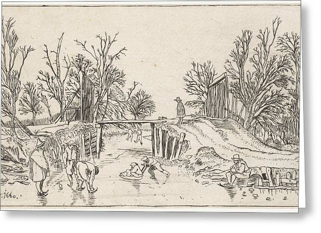Skaters Near A Wooden Bridge Greeting Card by Nicolaes Cornelisz. Witsen And Esaias Van De Velde