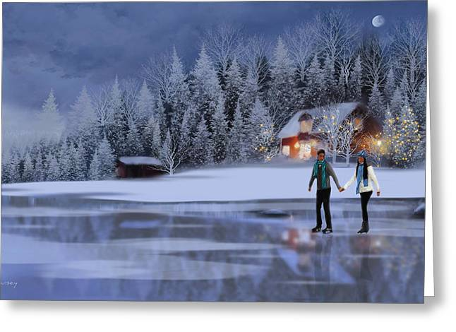 Skating At Christmas Night Greeting Card