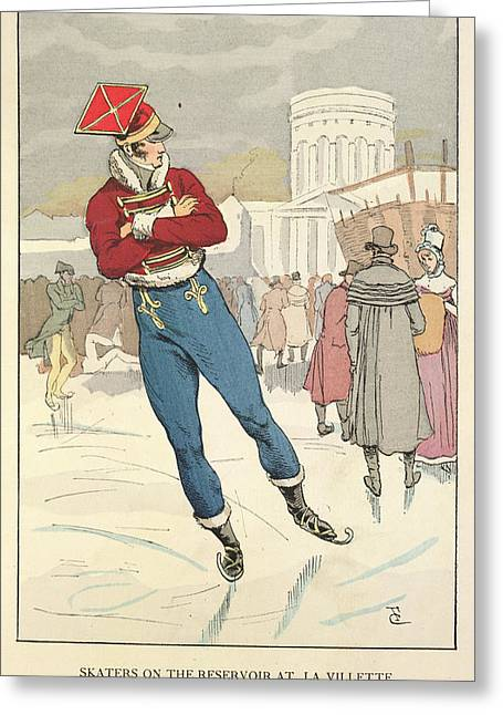Skating At La Villete Greeting Card