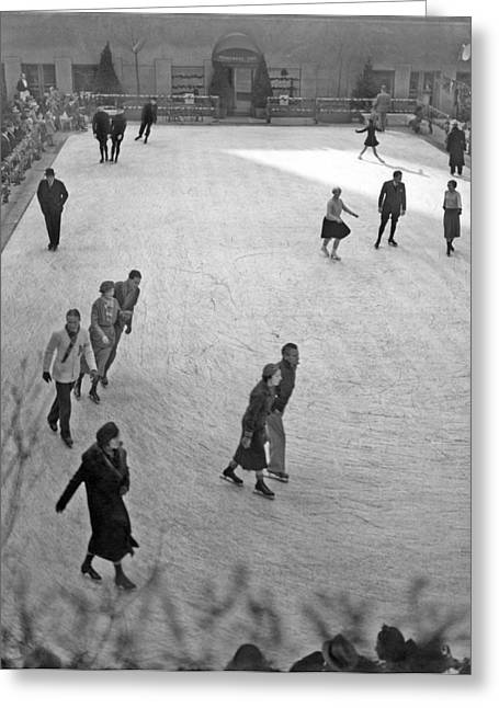 Skating At Rockefeller Center Greeting Card by Underwood Archives
