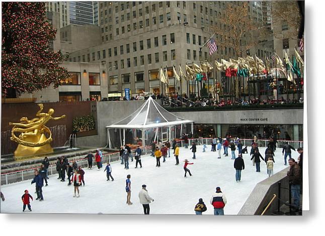 Skating In Rockefeller Center Greeting Card
