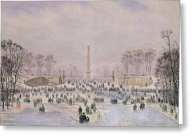 Skating In The Tuileries Greeting Card by Theodore Jung