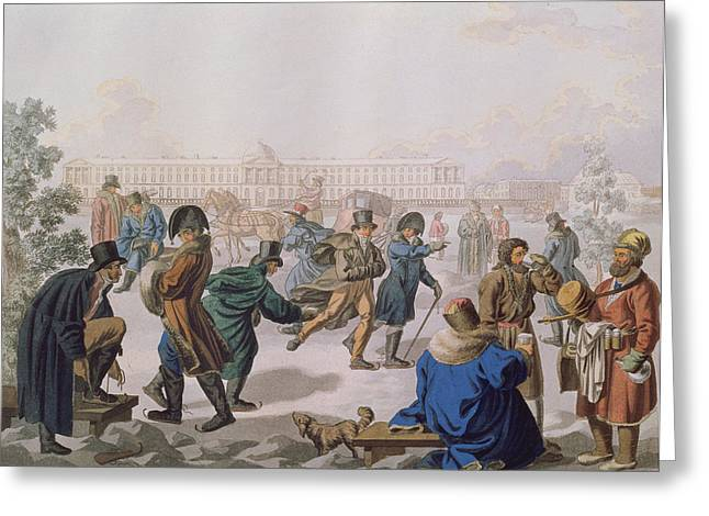 Skating On The Neva Colour Litho Greeting Card by Akim Egorovich Karneev