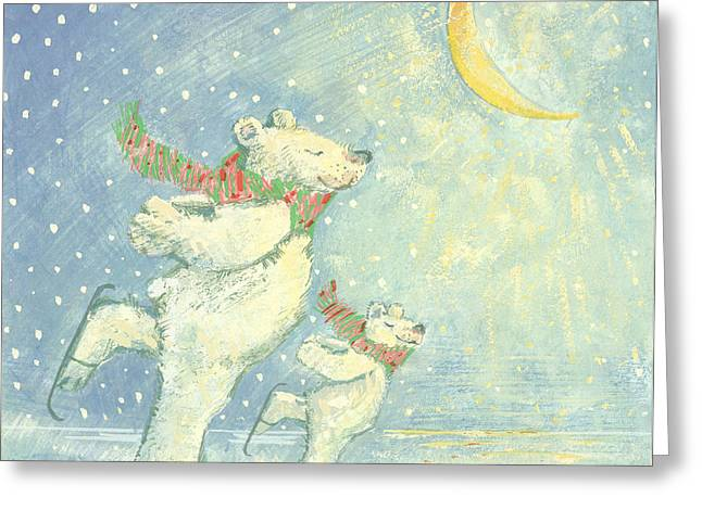 Skating Polar Bears Greeting Card