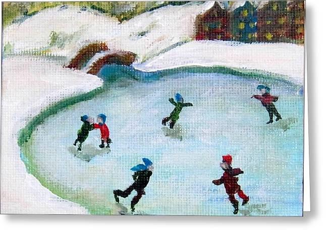 Skating Pond Greeting Card by Laurie Morgan