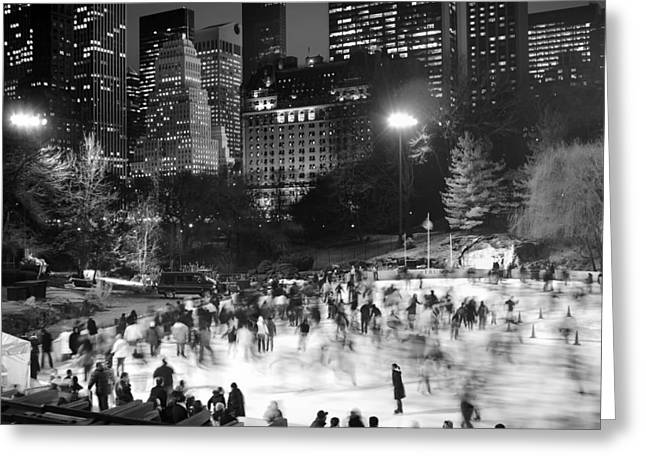 Greeting Card featuring the photograph New York City - Skating Rink - Monochrome by Dave Beckerman