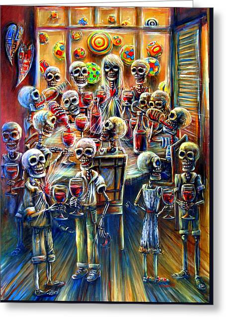 Skeleton Wine Party Greeting Card