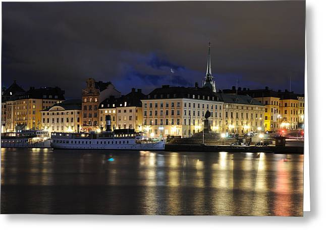 Skeppsbron At Night Greeting Card by Jeremy Voisey