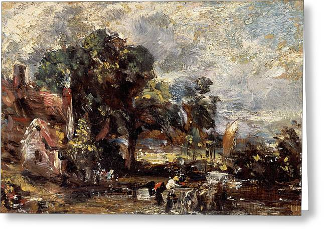 Sketch For The Haywain, John Constable Greeting Card
