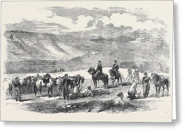 Sketch In The Valley. Crowe Returned To War Reporting Greeting Card by Crowe, Sir Joseph Archer (1825-1896), English