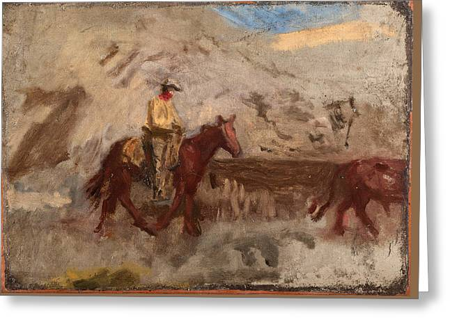 Sketch Of A Cowboy At Work Greeting Card by Thomas Eakins