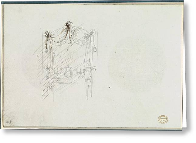 Sketch Of A Fireplace With A Mirror Greeting Card
