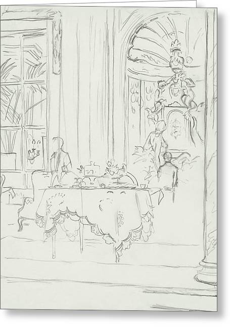 Sketch Of A Formal Dining Room Greeting Card by Carl Eric Erickson