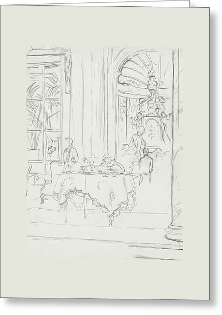 Sketch Of A Formal Dining Room Greeting Card by Carl Oscar August Erickson