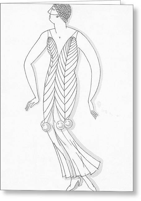 Sketch Of A Woman Wearing White Mistletoe Costume Greeting Card by Robert E. Locher