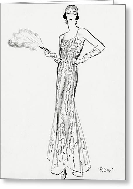 Sketch Of Munoz Wearing Evening Gown Greeting Card by Ren? Bou?t-Willaumez