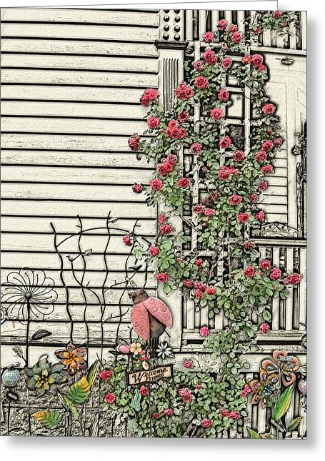 Sketch Of Porch With Climbing Roses Greeting Card