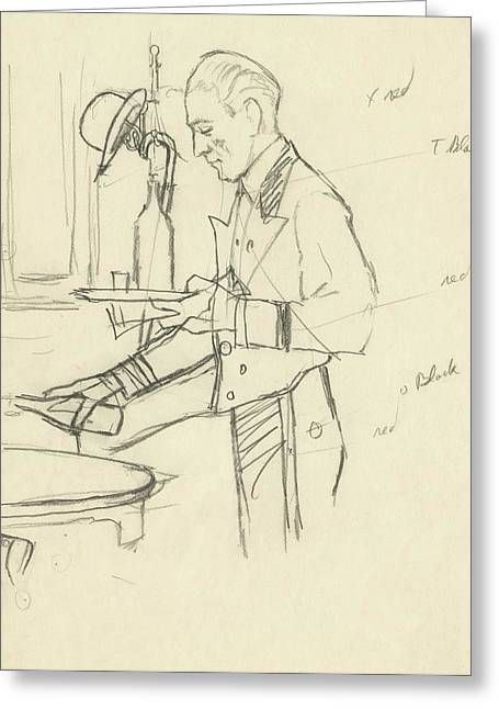 Sketch Of Waiter Pouring Wine Greeting Card by Carl Eric Erickson