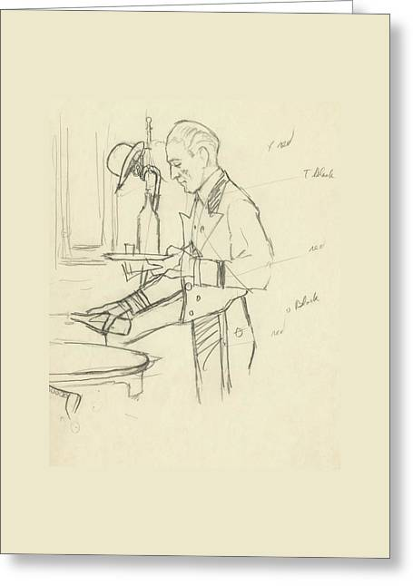 Sketch Of Waiter Pouring Wine Greeting Card by Carl Oscar August Erickson