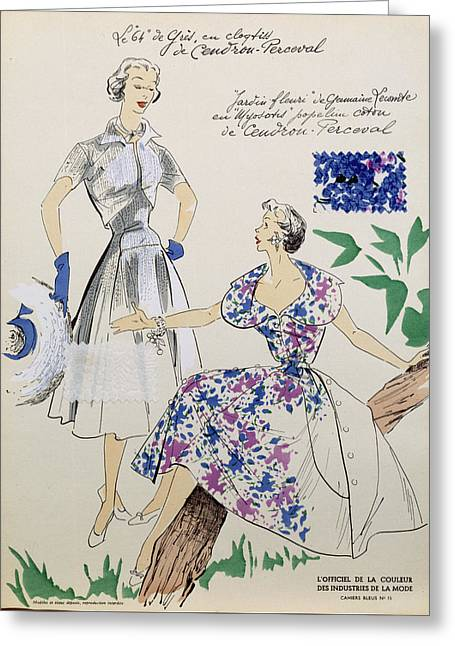 Sketches And Fabric Swatches Greeting Card by French School