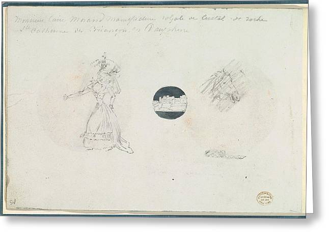 Sketches Of A Woman In A Corseted Gown Greeting Card