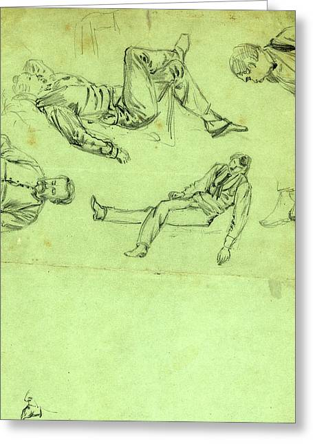 Sketches Of Figures In Repose, 1865, Drawing, 1862-1865 Greeting Card