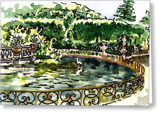 Sketching Italy Florence Boboli Gardens Of Pitti Palace Greeting Card by Irina Sztukowski