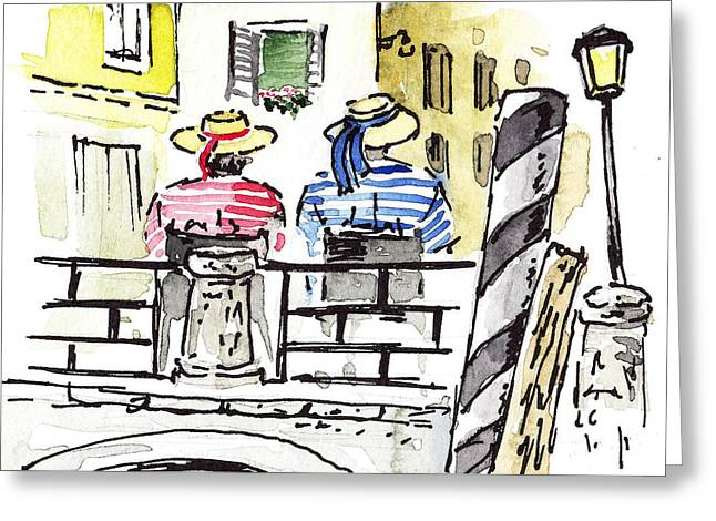 Sketching Italy Two Gondoliers In Venice Greeting Card by Irina Sztukowski