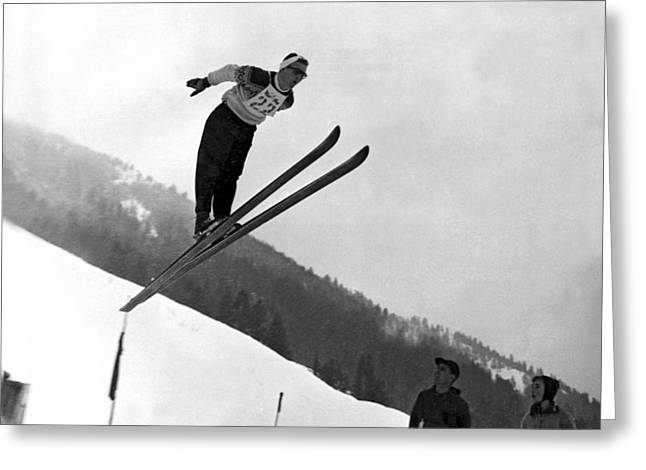 Ski Jumper Takes To The Air Greeting Card