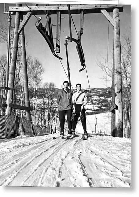 Ski Lift At Saint-sauveur Greeting Card by Underwood Archives