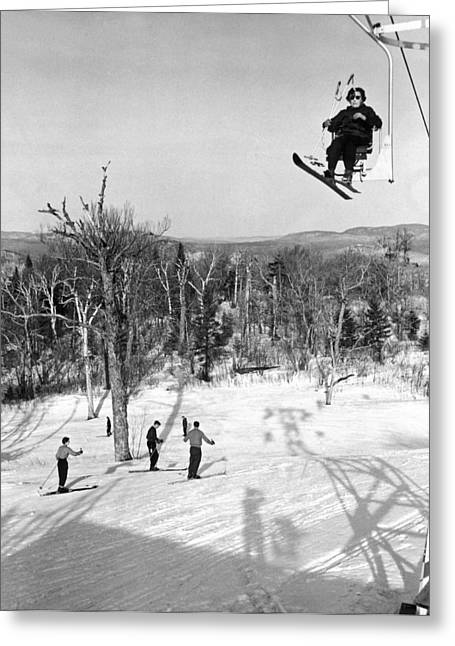 Ski Lift In  Canada Greeting Card by Underwood Archives