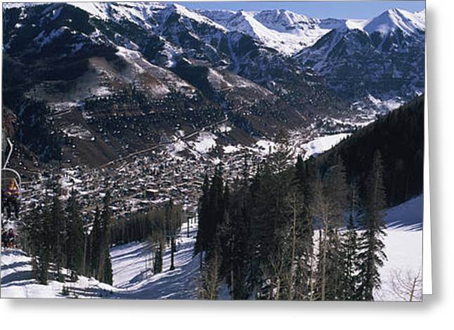 Ski Lifts Over Telluride, San Miguel Greeting Card by Panoramic Images