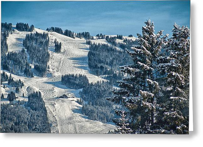 Ski Run Greeting Card by Chris Boulton