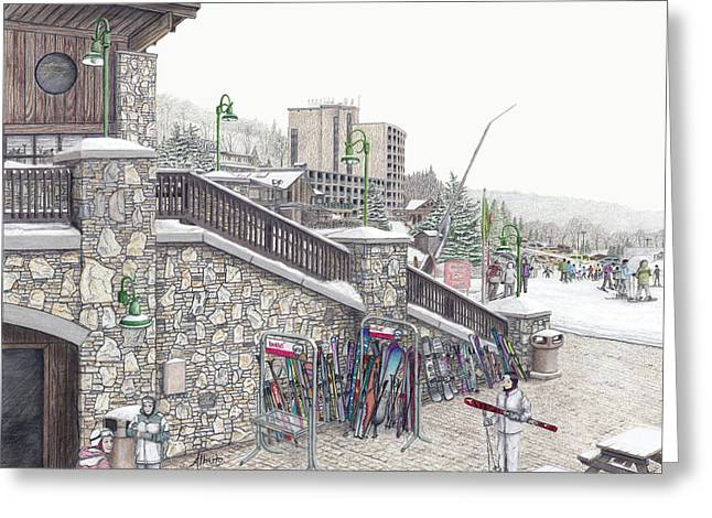 Burton Drawings Greeting Cards - Ski School at Seven Springs Mountain Resort Greeting Card by Albert Puskaric