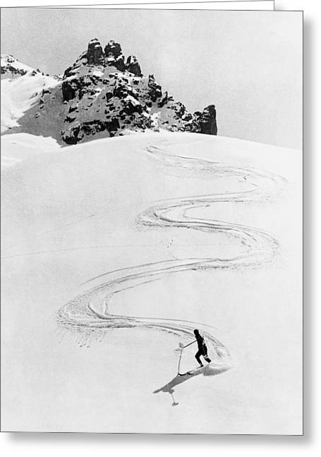 Ski Trail Down A Mountain Greeting Card by Underwood Archives