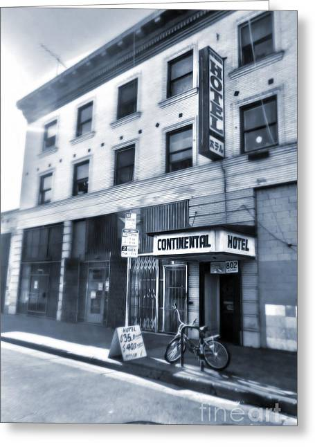 Skid Row Hotel Greeting Card by Gregory Dyer