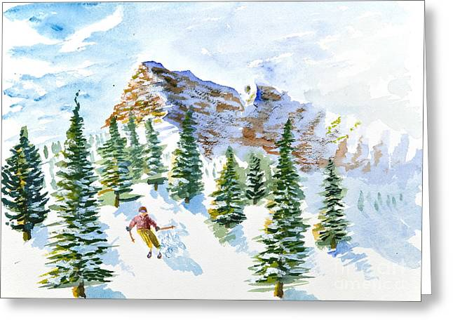 Skier In The Trees Greeting Card