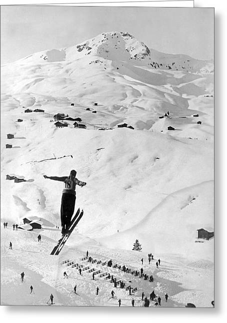 Skier Leaping Over A Valley Greeting Card