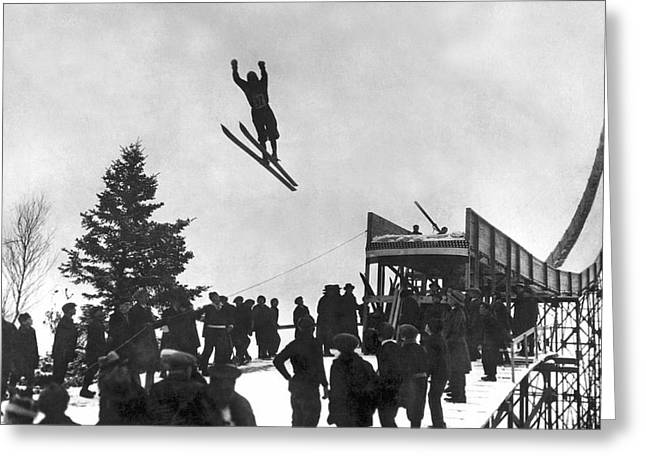Skier Off A Jump Greeting Card by Underwood Archives