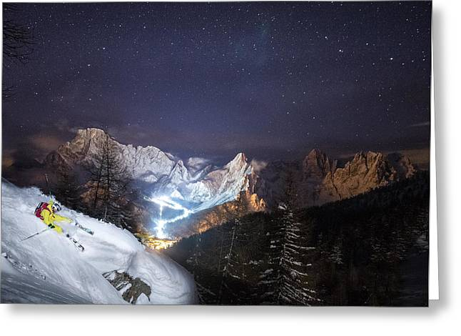 Skier Riding Down A Powder Slope At Night Greeting Card by Leander Nardin
