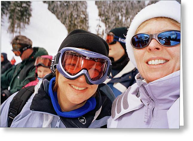 Skiers Greeting Card by Martin Riedl/science Photo Library