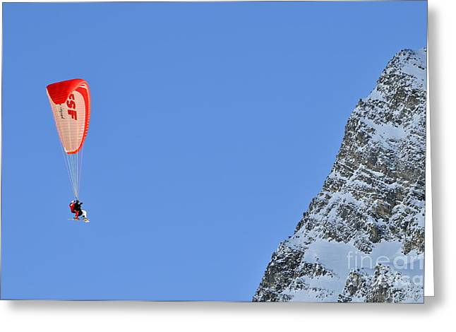 Skiers Paragliding Greeting Card by Sami Sarkis